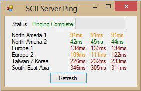 Пинг до разных серверов в SC2